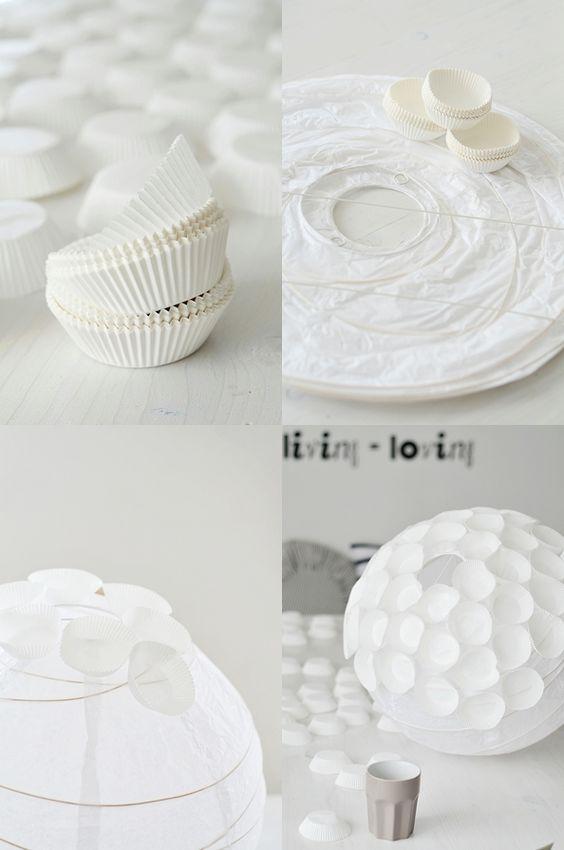 Muffin lampe luminaire avec emballage cupcakes d co luminaires pinteres - Luminaire papier ikea ...