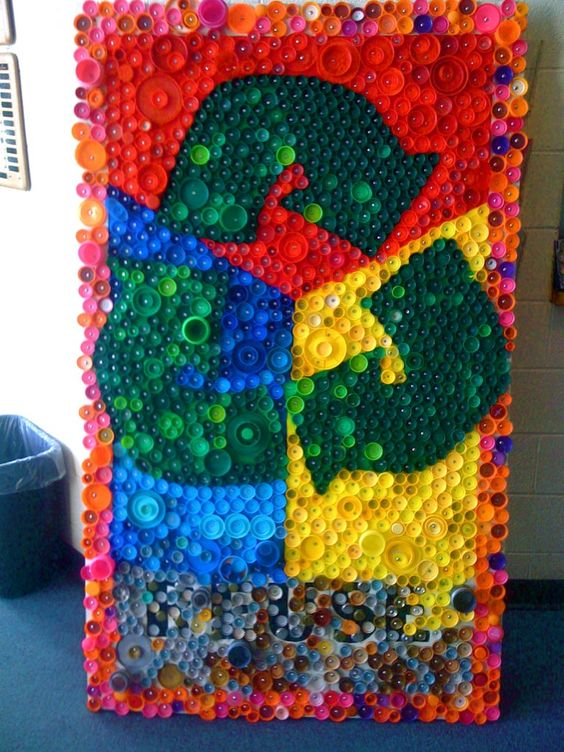 bottle cap art stuco can collect these classroom ideas