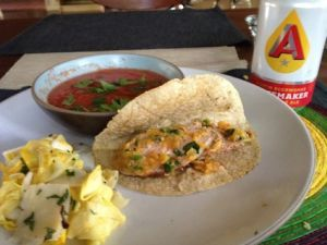 Grilled Pork Tacos With Peach Salsa and Spicy Gazpacho
