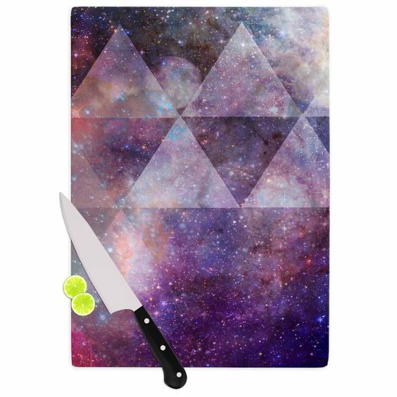 "Suzanne Carter ""Geometric stars"" Purple Black Cutting Board"