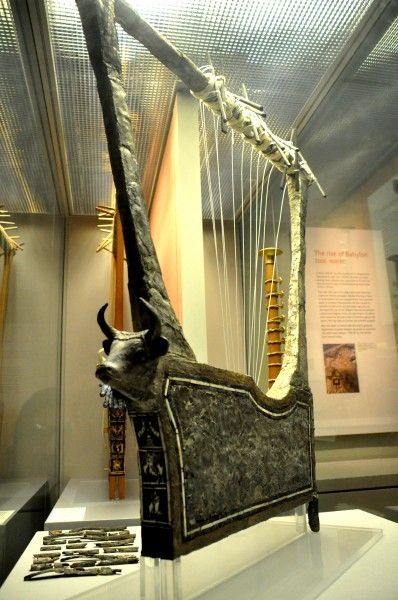 This lyre was found in the 'Great Death-Pit', one of the graves in the Royal Cemetery at Ur. From Ur, southern Mesopotamia, Iraq. Early dynastic period, 2600-2400 BCE. (The British Museum, London)