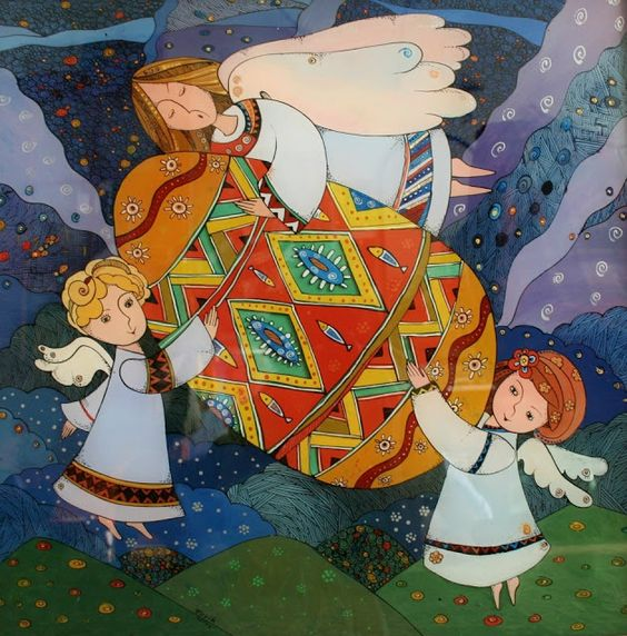 Angels and Easter Egg Glass Painting by Natalia Kuriy Lviv West Ukraine: