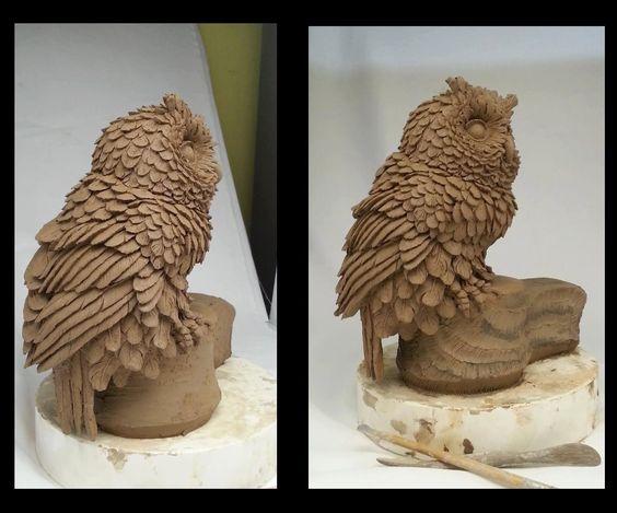 Owls sculpting in march art pinterest sculpture