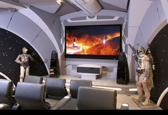 Star Wars themed home theater featuring Crestron Theater Remote