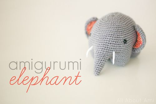 """Here is a sneak peek of the latest amigurumi that I will be blogging about!  Isn't this elephant absolutely adorable?  It's a Japanese pattern that I first discovered on """"Amigurumies"""", a blog by Rani who translated the pattern into Spanish!   Stay tuned for the full step-by-step blog post and the free English pattern coming this week!  I absolutely love how this amigurumi elephant is constructed!"""