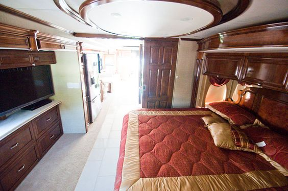 plush bed in the #Newmar Essex RV