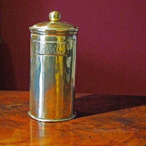 Copper Coffee Pot with Brass Powder Jar