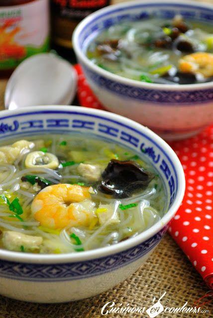 Soupe Chinoise : Poissons, Crevettes, Vermicelles et plein de bonnes choses...