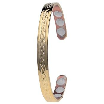 Gold & Copper Weave Magnetic Bangle