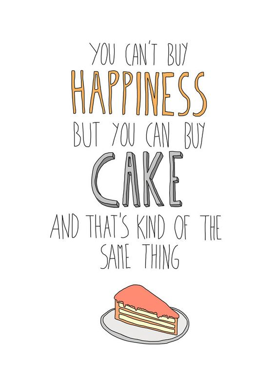Cake equals happiness illustration print, 8 x 10. $18.00, via Etsy.
