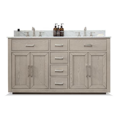 Grace 60 Mid Century Vanity Set With Carrara White Quartz Top Antique Gray Sold Out Double Bathroom Vanity Bathroom Vanity Vanity Set