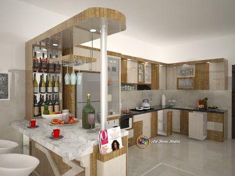 Desain Interior Kitchen Set Dengan Meja Mini Bar Minimalis Elegan Artistik Interior Interior Dapur Mini Bars