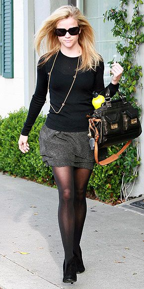 Black traslucent sweater, Gray skirt, Black tights and shoes - Work Outfir