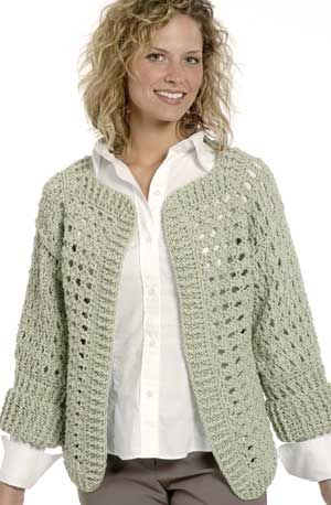 Crochet Stitch Jacket : CROCHET JACKET PATTERN-Crochet four rectangles for the body and two ...