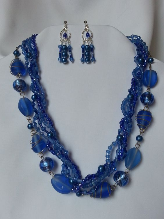 Blue glass beaded necklace by CreationsbyJF on Etsy