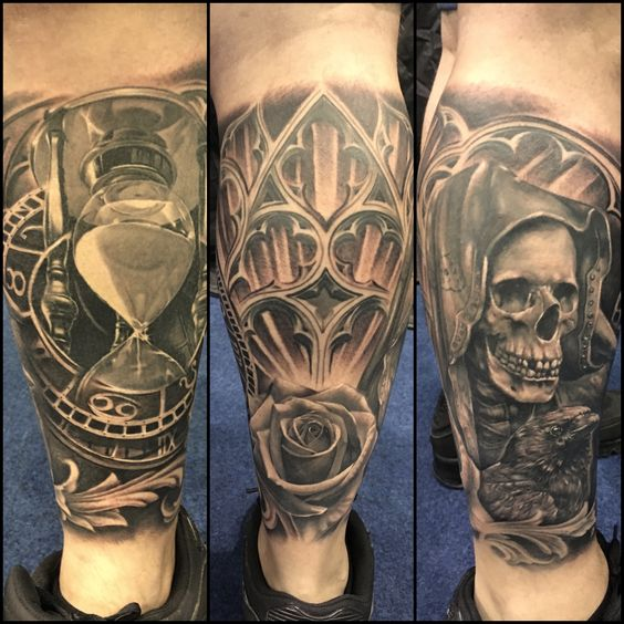 award winning leg sleeve black and grey hourglass skull tattoo black and grey tattoos. Black Bedroom Furniture Sets. Home Design Ideas