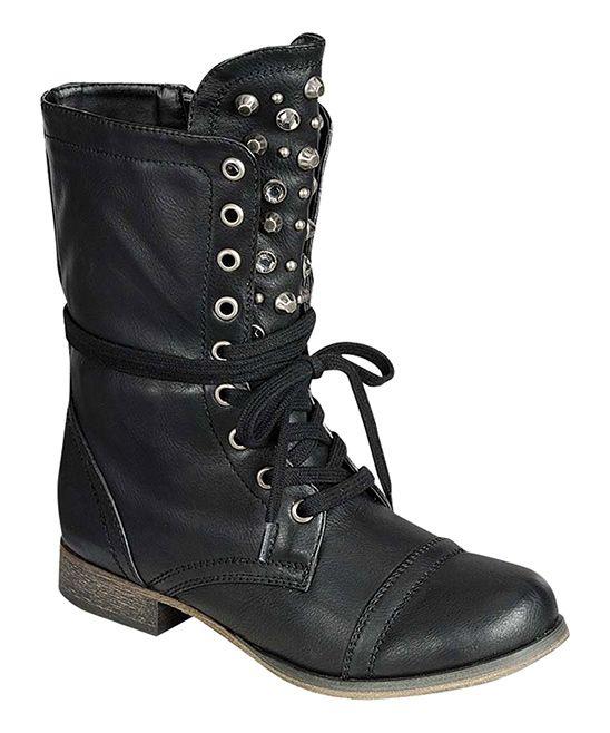 Black Studded Atlanta Boot | zulily