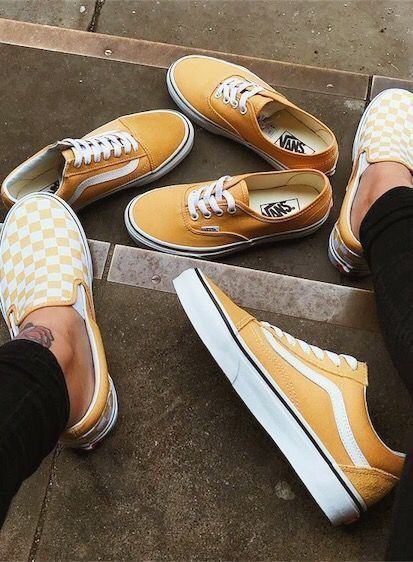 4f450038a11 V a n s    Yellow Checker and Classic Vans Womens or Mens Skater Shoes  Latest Shoe Fashion and Footwear  teen