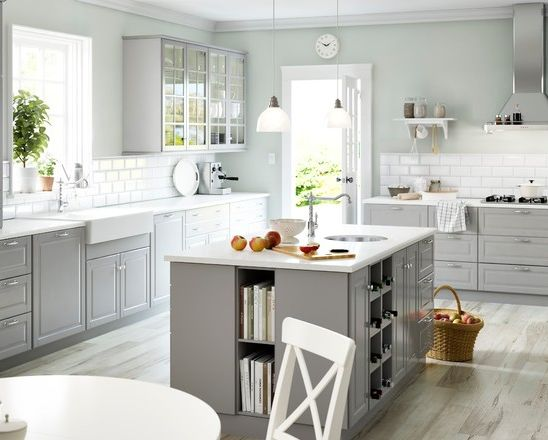 White appliances, white counters, light grey cabinets http  www houzz