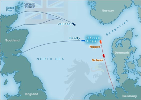 May 30, 1916 - Royal Navy Moves to Intercept Imperial High Seas Fleet in the North Sea.  Pictured - The first moves towards the Battle of Jutland, the 1st and last great naval battle of WW1.  By mid-1916, the Royal Navy's blockade of Germany was beginning to take its toll. Worse, Germany's submarines offensive to starve Britain had ended inconclusively, when American protests forced the German government to cease unrestricted submarine warfare. But Germany had another card up its sleeve...