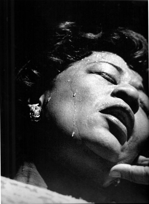 Ella Fitzgerald, Olympia Theatre, Paris, 1960; photographed by Herman Leonard.