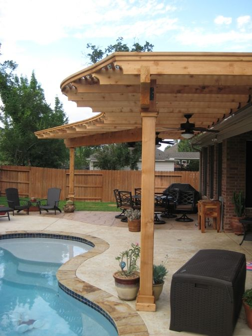 Radius pergola with scroll cuts and decorative stamped concrete on one end.  | Pergolas and Arbors | Pinterest | Pergolas, Concrete and Arbors - Radius Pergola With Scroll Cuts And Decorative Stamped Concrete On