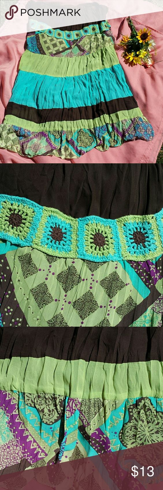 Plus size 26/28 fully lined Boho maxi skirt BEAUTIFUL Boho skirt with green teal and brown. Towards the top there is some crochet (pic #2). This is true to size 26/28. This came from an animal and smoke free home, however mine is not (it has been in a tote in a separate closed smoke and animal free room since I've had it)   I am a FAST shipper!   Price is firm unless bundled      PAYPAL Lane Bryant Skirts Maxi