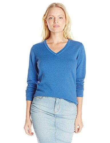 Dockers Women's Petite V Neck Cotton Sweater, Delft, Medium. Long-sleeve sweater with ribbed-knit V-neckline, cuffs, and hem.