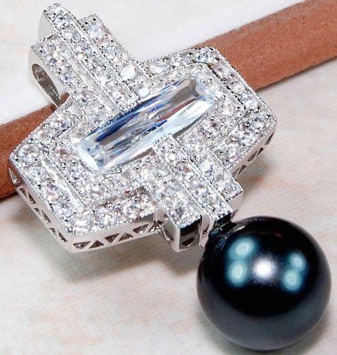 PENDANT 3ct Titanium Pearl White Topaz 925 Sterling Silver Cross Christian…