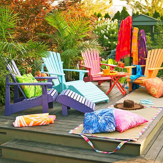 Colorful deck: Colorful Deck, Adirondack Chairs, Colorful Adirondack, Outdoor Living, Backyard Idea, Furniture Idea, Colorful Chairs