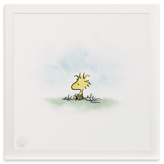 Snoopy & Peanuts - Woodstock, Unframed Limited Edition Print, 30x30cm | ACHICA