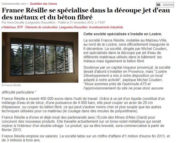 Usine Nouvelle - France Resille s'installe en Lozère - 2012
