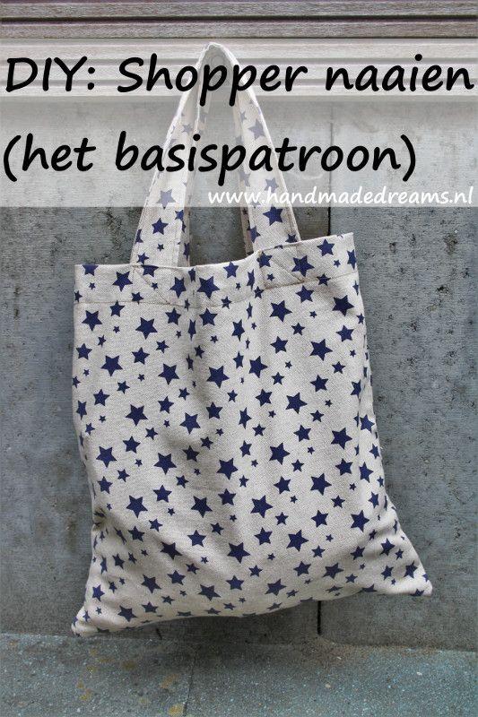 Onwijs DIY: Shopper naaien (het basispatroon (met afbeeldingen) | Tas GF-07