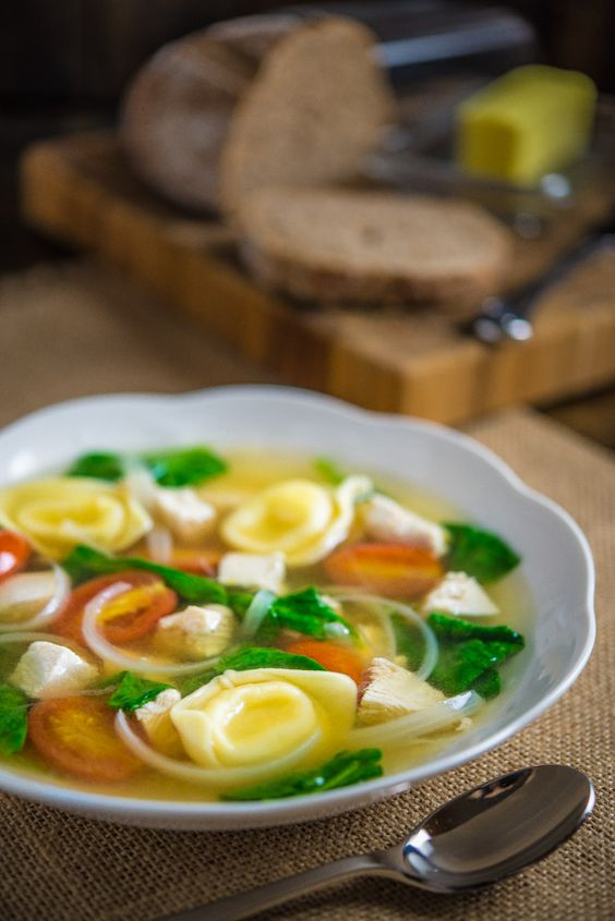 Tortelloni Soup with Chicken and Spinach | Southern Boy Dishes