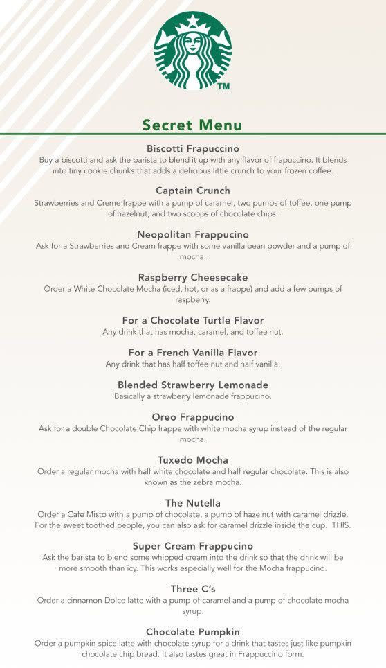 im gonna try all of these.. the super secret starbucks menu!