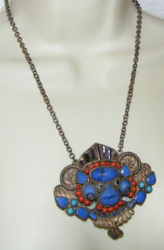 Vintage Ethnic Tribal Tibetan Diety Necklace Coral Turquoise Lapis Unusual | eBay sold