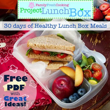 Project Lunch Box: FamilyFreshCooking.com: 30 Days of Healthy Meals To-Go Downloadable PDF ©Marla Meridith #DIY #freebie #school #family #kids #travel