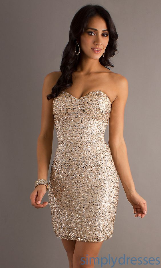 Sequined Cocktail Dress- Strapless Dress - Receptions ...