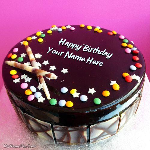 birthday cakes. Write your name on Chocolate Bunties Birthday Cakes ...