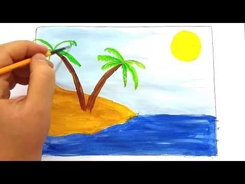 Manzara Resmi Cizimi Kumsal Resmi Cizimi Youtube Manzara Manzara Resimleri Cizim