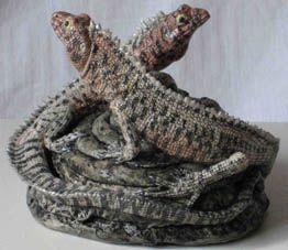Two Lava Lizards by Jill Moger. (stoneware ceramic) 9cms x 11cms