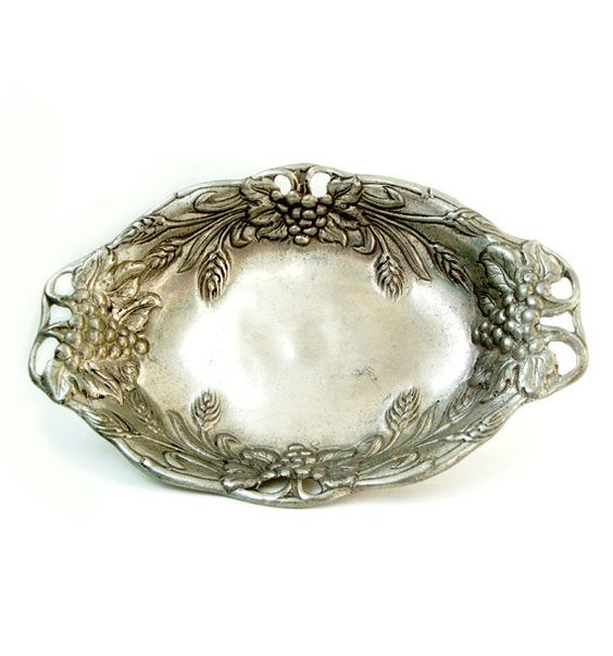 Antique Franch Pewter Dish  Pewter Candy Bowl by millyscollection