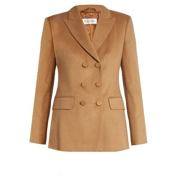 Max Mara Draghi jacket (€900) ❤ liked on Polyvore featuring outerwear, jackets, camel, camel hair jacket, beige jacket, camel jacket, double breasted jacket and tailored jacket