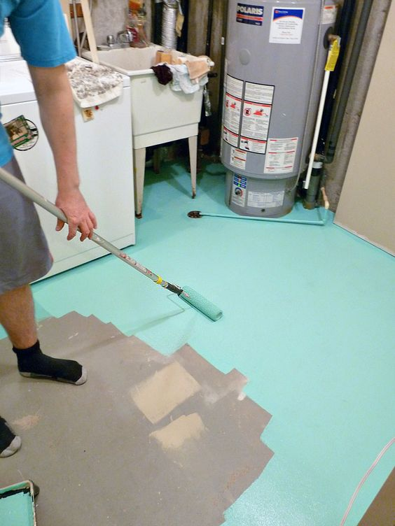 Concrete floors painting concrete and paintings on pinterest for How to paint concrete floors