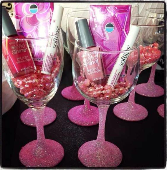 Great idea for bachelorette party gifts!! DIY!!! Use mason jars instead