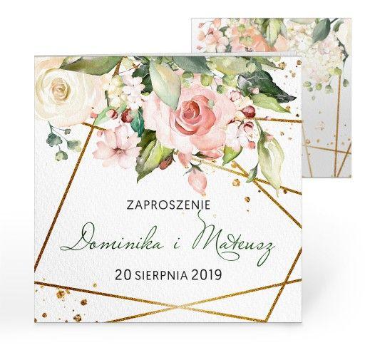 Zaproszenia Slubne Rustykalne Kwiaty Koperta Wedding Flowers
