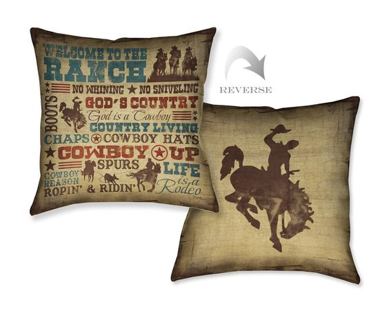 Welcome to the Ranch Decorative Pillow, Welcome to the Ranch by Shawnda Craig