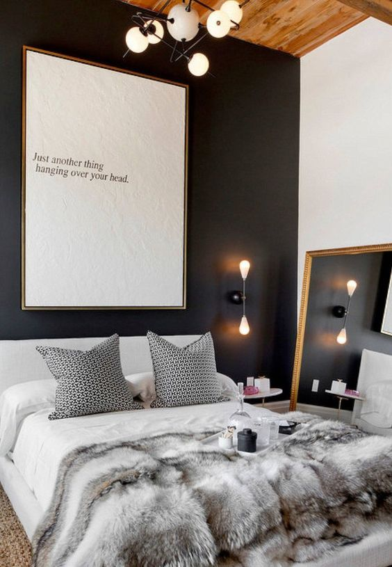 Sure we hang things on the wall behind the bed, but right above it is another land of opportunity. Instead of blank ceiling space, think about ways to add a statement to that part of the room. Here are seven that add tons of drama and movement.