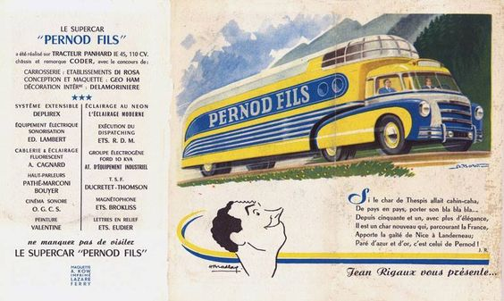 """THE 1951 SUPERCAR PERNOD  """"This vehicle, both theatre, movie theatre and bar, is a beautiful """"specimen"""" of advertising supercars that animated roads and villages during the legendary Tour de France. Designed by Geo Ham with bodywork by Di Rosa. http://customrodder.forumactif.org/t1182p45-les-vehicules-de-la-caravane-du-tour-de-france-1950-s-1960-s"""