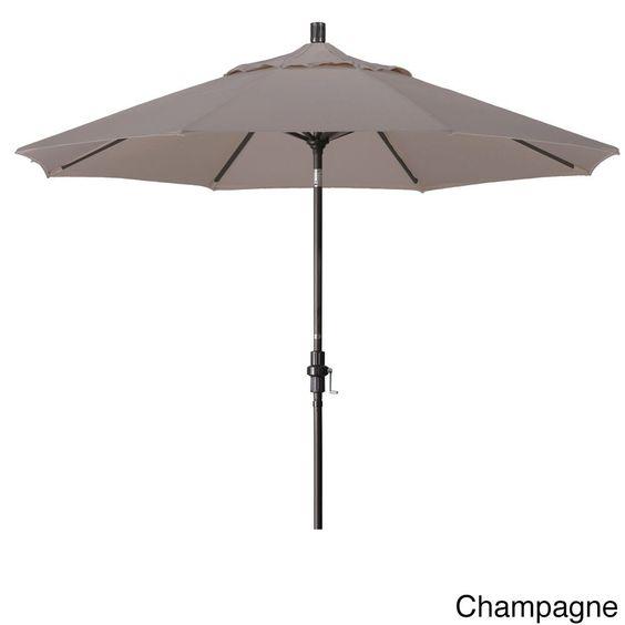 California Umbrella 9' Rd. Market Umbrella, Deluxe Crank Lift with Collar Tilt, Bronze Frame Finish, Olefin Fabric